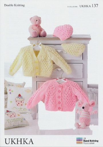 Baby Girl Lacy Cardigan and Hat Knitting Pattern UKHKA 137